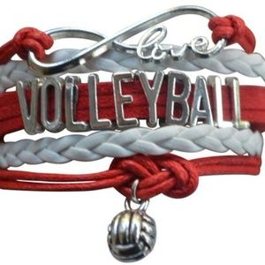 Girls Volleyball Bracelet - Red & White